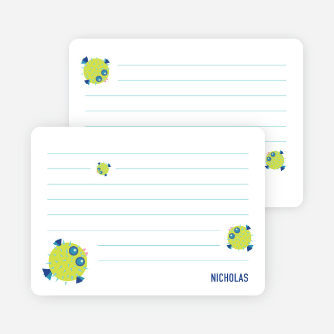 Notecards for the 'Kaboom Fish' cards. - Blue Violet
