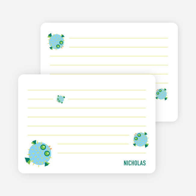 Notecards for the 'Kaboom Fish' cards. - Teal