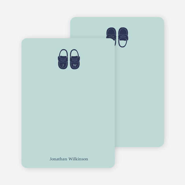 Personal Stationery for Boys' Shoes Modern Baby Announcement - Seafoam