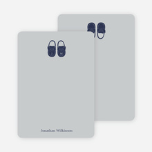 Personal Stationery for Boys' Shoes Modern Baby Announcement - Silver Grey