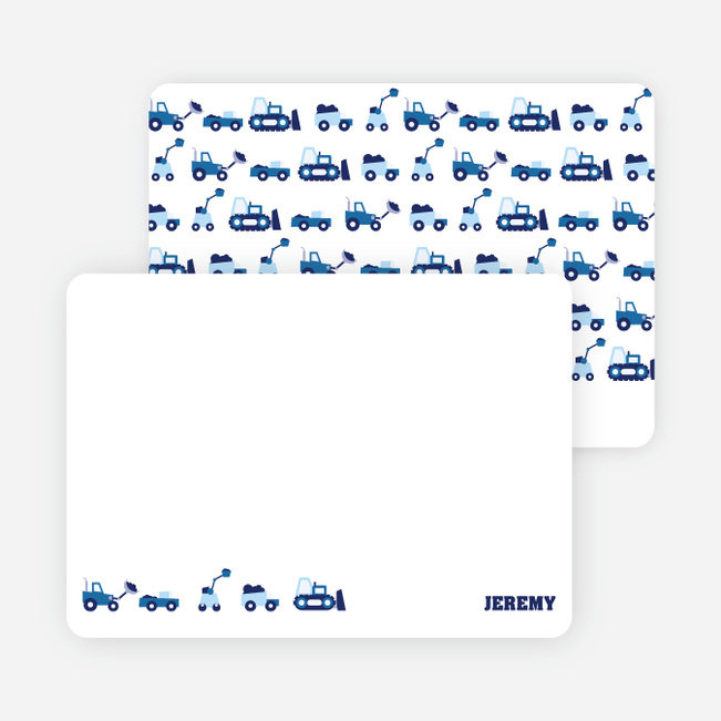Personal Stationery for Dump Truck, Forklift & Bulldozer Birthday Invitation - Navy Blue