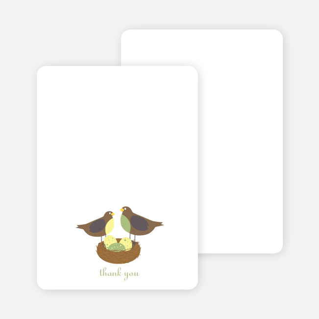 Stationery: 'Nesting Robins' cards. - Green Tea