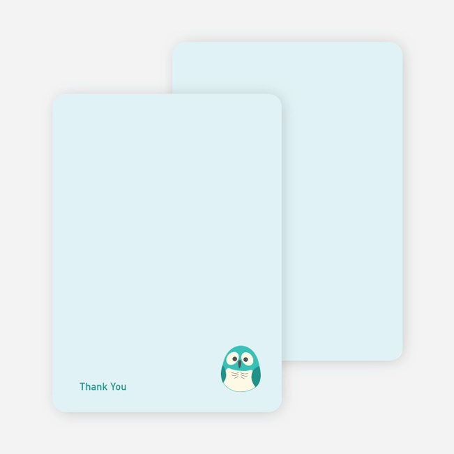 Thank You Card for Owl Baby Shower Invitation - Teal