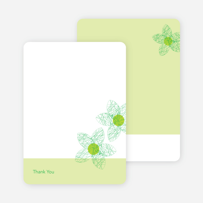 Thank You Card for Spriograph Flowers Bridal Shower Invitations - Asparagus