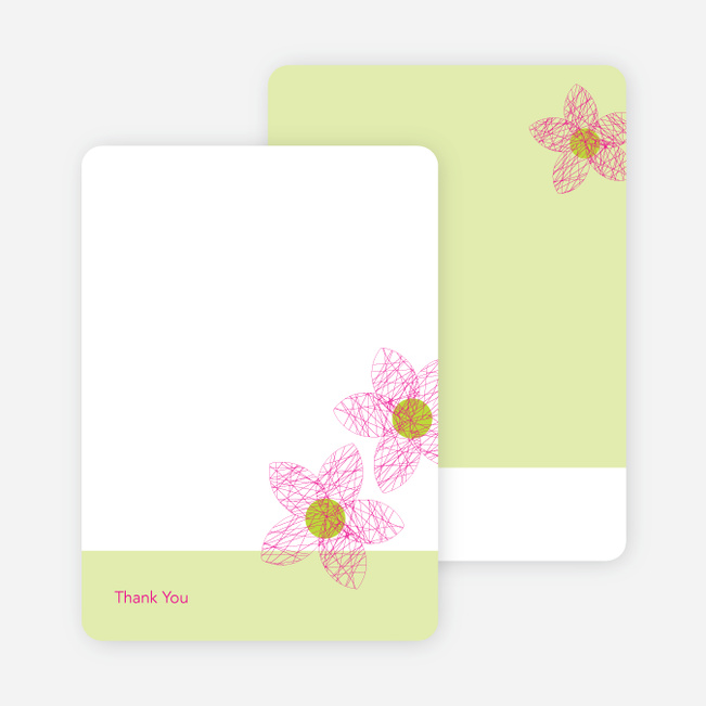 Thank You Card for Spriograph Flowers Bridal Shower Invitations - Fuschia