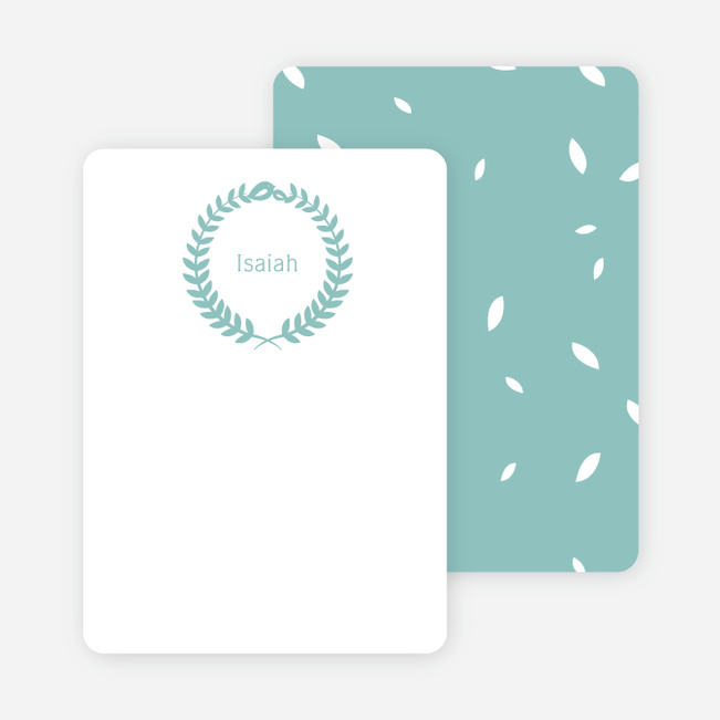 Wreath Personalized Stationery - Blue