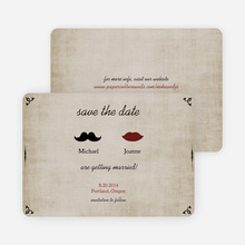 Lips and Moustache Save the Date Cards - Brown