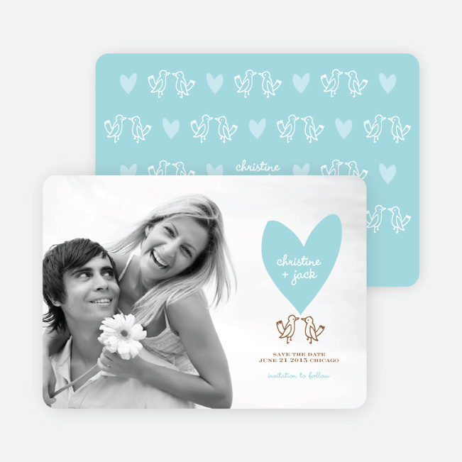 Lovebird Inspired Save the Date Cards - Azure