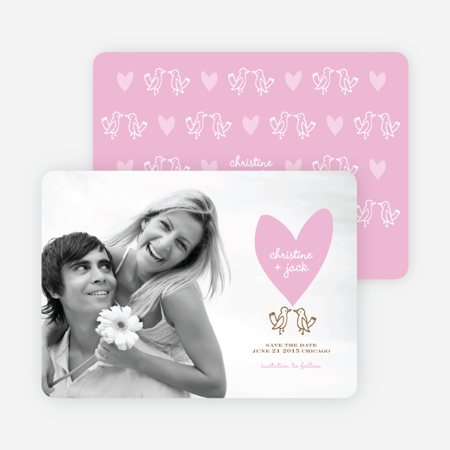 Lovebird Inspired Save the Date Cards - Carnation