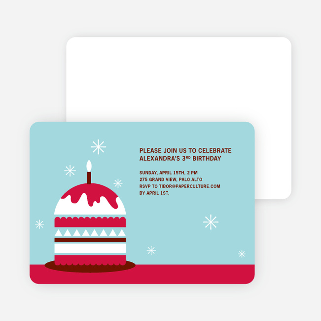 Modern Birthday Cake Invitation - Cherry