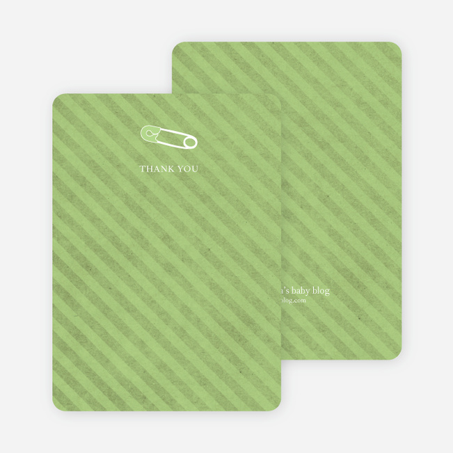 Note Cards: 'Baby Pin Shower' cards. - Celery