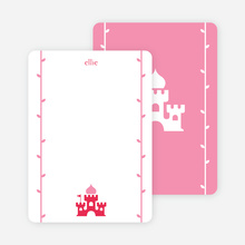 Note Cards: 'Princess Birthday Invitation' cards. - Raspberry Red