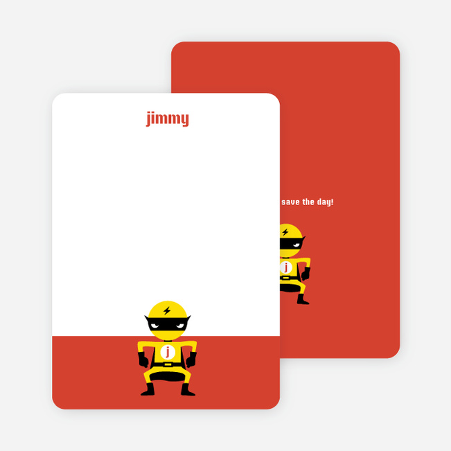 Notecards for the 'Yellow Avenger Returns' cards. - Saffron