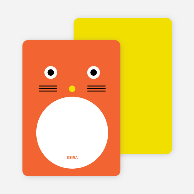 Personal Stationery for Cat Face Modern Birthday Invitation - Carrot
