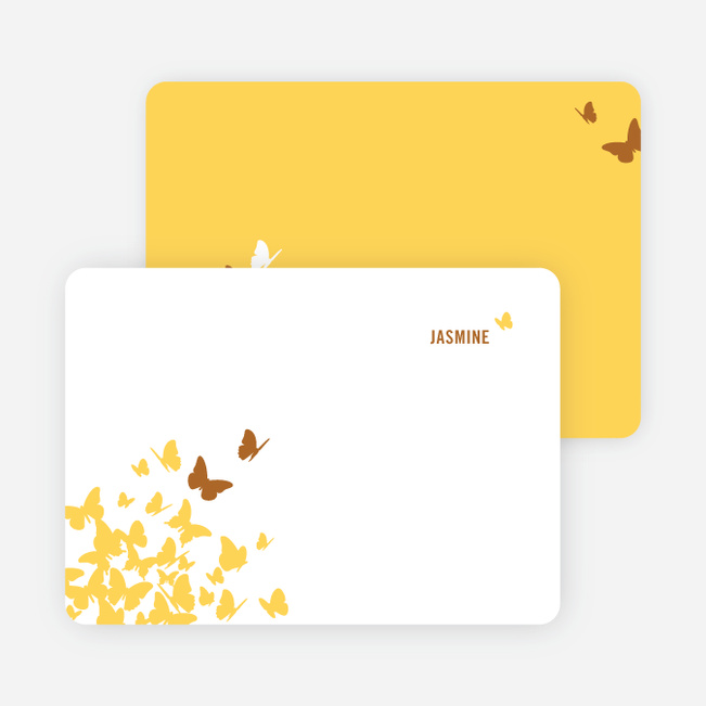 Personal Stationery for Flying Butterfly Modern Birthday Invitation - Bronze