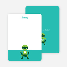 Personal Stationery for Green Avenger Super Hero Birthday Invitation - Aquamarine