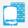 Personal Stationery for Later Alligator Modern Birthday Invitation - Royal Blue