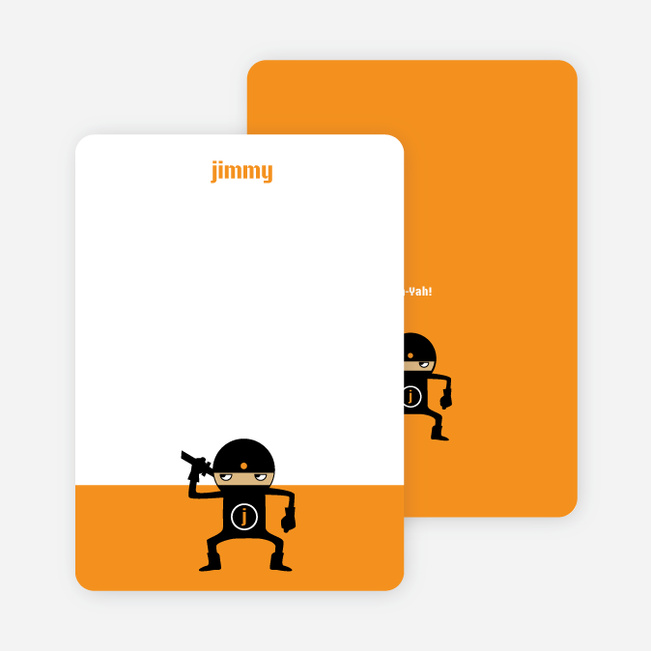Personal Stationery for Modern Ninja Kids Birthday Invitation - Tangerine