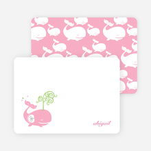Personal Stationery for Modern Whale Spout Birthday Invitation - Cotton Candy