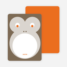 Personal Stationery for Monkey Face Modern Birthday Invitation - Cocoa