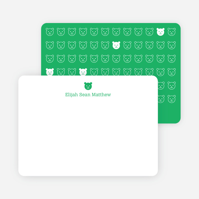 Stationery: '1 Little Bear' cards. - Emerald