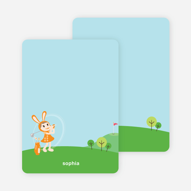 Stationery: 'Girl Golfer' cards. - Papaya Orange