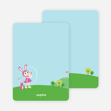 Stationery: 'Girl Golfer' cards. - Magenta Purple