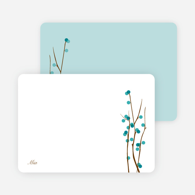 Stationery: 'Holiday Berries' cards. - Teal