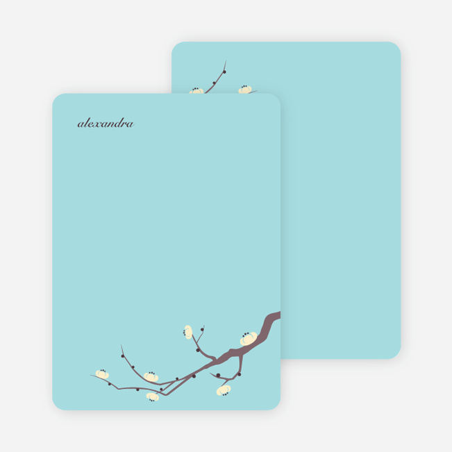 Stationery: 'Modern Tree Branch Memories' cards. - Grape