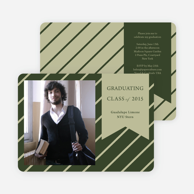 Banner Stripes Graduation Party Invitations - Green
