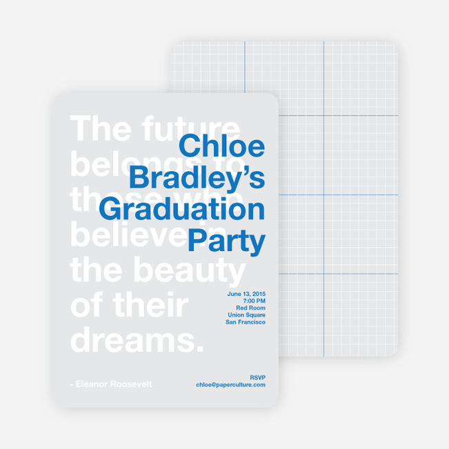 Graduation Quote Invitations - Celebrate Blue
