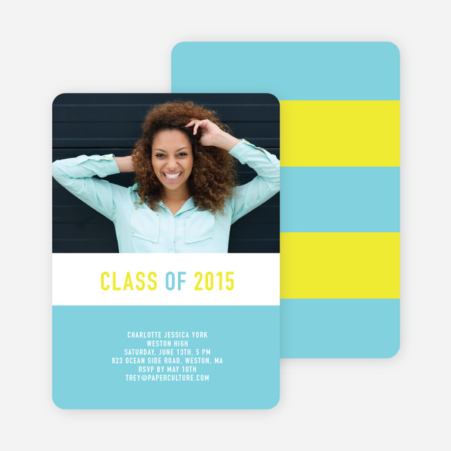 Unique Modern Graduation Announcements and Invitations - Dark Cobalt