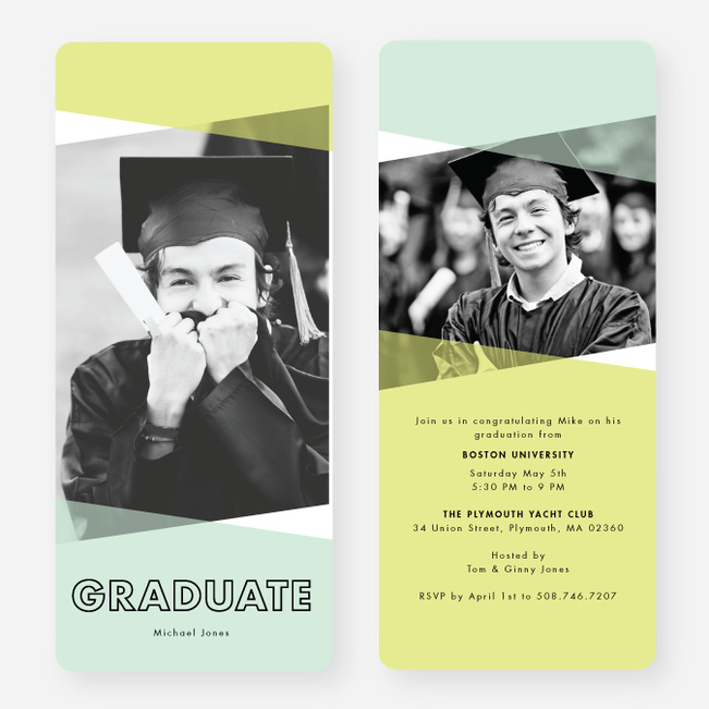 Graduation Announcements with Geometric Triangles - Blue