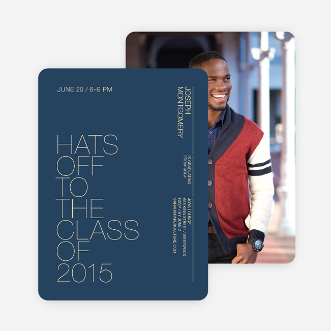 Hats Off Graduation Announcement and Invitation - Blue