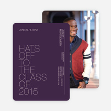 Hats Off Graduation Announcement and Invitation - Purple