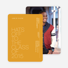 Hats Off Graduation Announcement and Invitation - Yellow