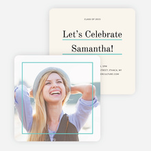 Linear High School Graduation Invitations  - Blue
