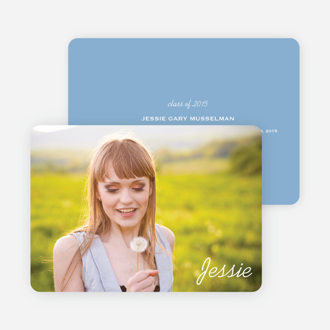 Chic Graduation Photo Announcements - Blue