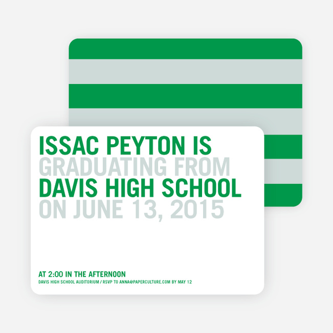 Simple Graduation Invitations - Green Grad