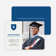 School Shield Graduation Announcements and Invitations - Dusty Blue
