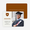 School Shield Graduation Announcements and Invitations - Champagne