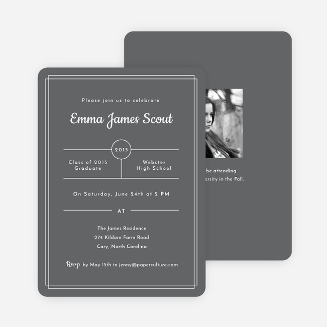 Modern Outlines Graduation Invitations - Gray