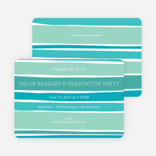 Modern Waves Graduation Party Invitations - Blue