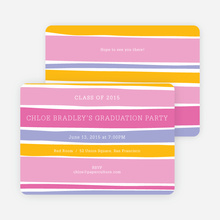 Modern Waves Graduation Party Invitations - Pink