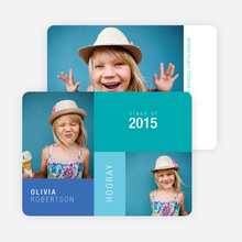 Color block Photo Graduation Announcements for Elementary School - Blue
