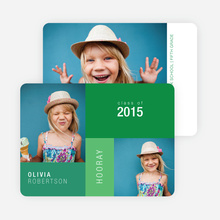 Color block Photo Graduation Announcements for Elementary School - Green