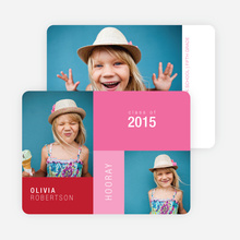 Color block Photo Graduation Announcements for Elementary School - Red