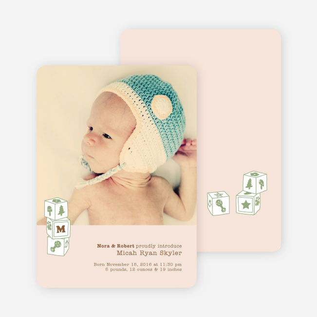 Alphabet Blocks Photo Birth Announcements - Pink Peach