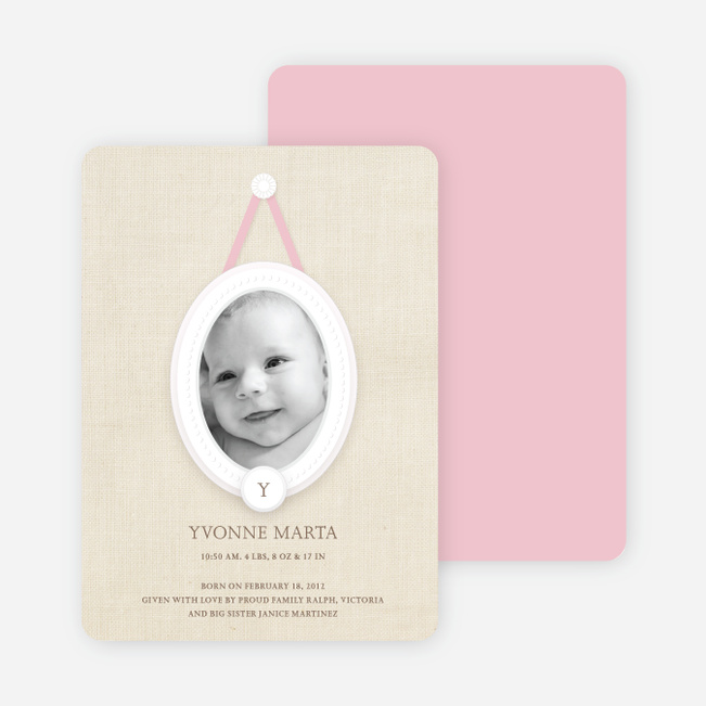 Antique Monogram Birth Announcements - Cotton Candy