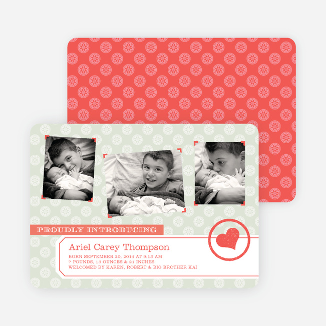 Baby Announcements Inspired by Nursery Wallpaper - Gray